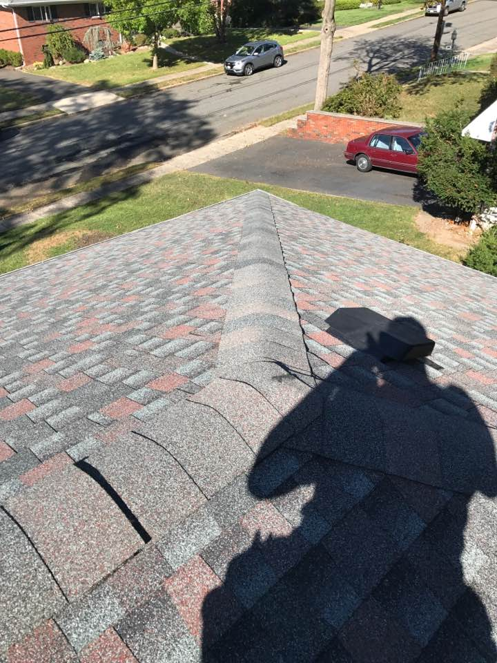 """New GAF Timberline System Plus, Lifetime Warranty Roof in Williamsburg Slate & New 5"""" K-style aluminum gutters and 2X3 leaders in Fair Lawn NJ in Bergen County NJ by McCollum Roofing & Siding of West Orange NJ, Essex County. October 2017"""